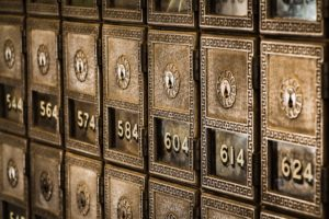 Rows of bank lockboxes